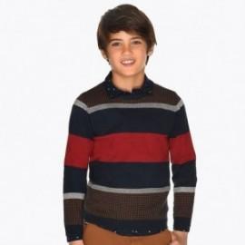 Sweter w paski dla chłopca Mayoral 7309-57 Bordo