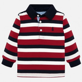 Koszulka polo z długim rękawem w paski chłopięca Mayoral 2105-37