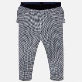 Spodnie długie w pepitko z falbanką dziewczęce Mayoral 2530-20 Granatowy