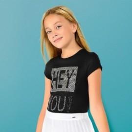 Mayoral 6016-40 Koszulka k/r z aplikacją dziewczęca kolor Czarny