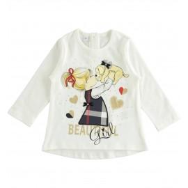iDO Bluzka bawełniana dziewczęca K603-0112 krem