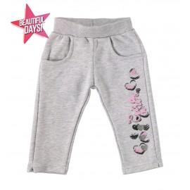 iDO Spodnie dresowe bawełniane dla dziewczynki K630-8992 szary