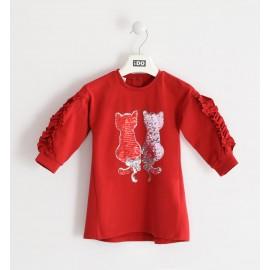 iDO Bawełniana sukienka z cekinami dziewczęca K664-2253 czerwona