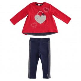 iDO Komplet bluzka i legginsy dziewczęcy K672-8010 czerwony