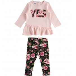iDO Komplet bluza i getry dla dziewczynki K676-8460 RÓŻOWY