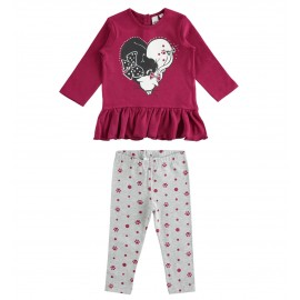 iDO Zestaw bluzka i legginsy dla dziewczynek K688-8348 bordo
