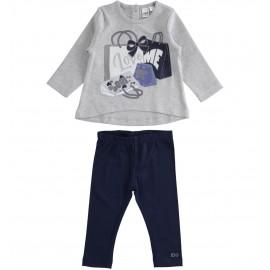 iDO Komplet bluzka i legginsy dla dziewczynek K689-8225 szary
