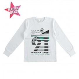 iDO T-shirt z długim rękawem dla chłopców K705-0113 biały