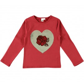 iDO Bluzka bawełniana z długim rękawem dla dziewczynek K930-2536 czarwony