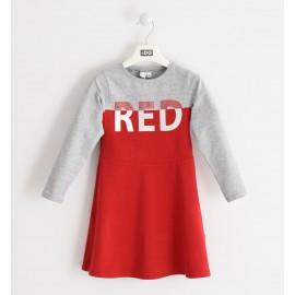 iDO Bawełniana sukienka sportowa dla dziewczynki K960-8016 szary/czerwony