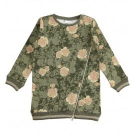 iDO Bawełniana sukienka w kwiaty dziewczęca K967-6LM4 zielony