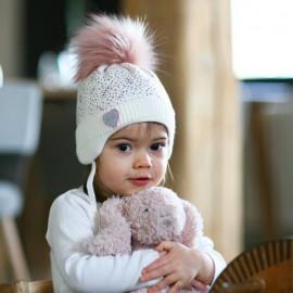 Pupill czapka z kominem dla dziewczynki ELSIE krem