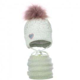 Pupill czapka z kominem dla dziewczynki ELSIE popiel