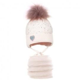 Pupill czapka z kominem dla dziewczynki ELSIE róż
