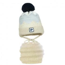 Pupill czapka z kominem dla chłopaków TWIST beż