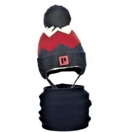 Pupill czapka z kominem dla chłopaków TWIST bordo