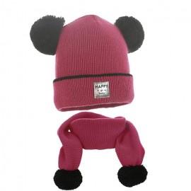 Pupill czapka z szalikiem dla dziewczynki TARA amarant