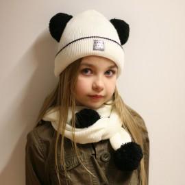 Pupill czapka z szalikiem dla dziewczynki TARA krem