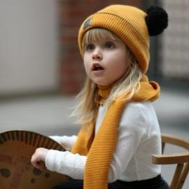 Pupill czapka z szalikiem dla dziewczynki TARA żółty