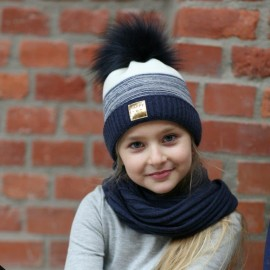 Pupill czapka z kominem dziewczęca NOA granat