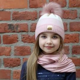 Pupill czapka z kominem dziewczęca NOA róż