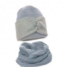 Pupill czapka z kominem dla dziewczynki ROCCO niebieski