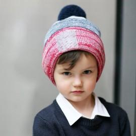 Pupill czapka z pomponem chłopięca METRO czerwony
