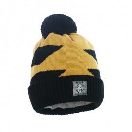 Pupill czapka z pomponem chłopięca SYBERIAN żółty/czarny