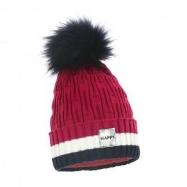 Pupill czapka z pomponem dziewczęca VARIO amarant