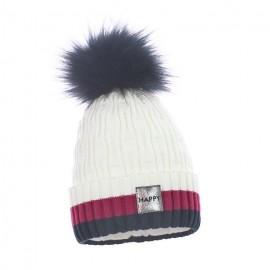 Pupill czapka z pomponem dziewczęca VARIO krem