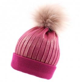 Pupill czapka z połyskiem dziewczęca JESSICA amarant