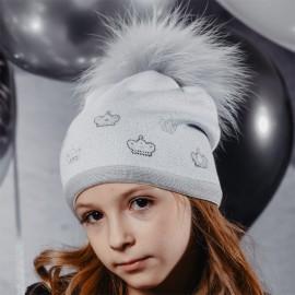 Jamiks AGATA II czapka dziewczęca z pomponem popiel