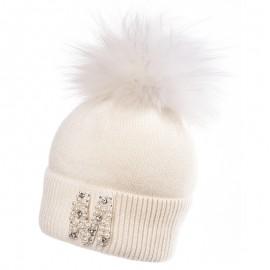 Jamiks ANABEL II czapka dla dziewczynki z pomponem ekri