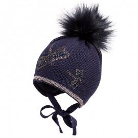 Jamiks TESKA II czapka dla dziewczynki z pomponem wiązana granat