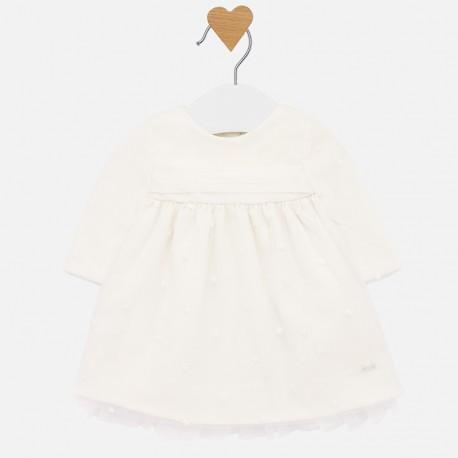 Sukienka tiulowa z haftem dla dziewczynki Mayoral 2820-90 Kremowy