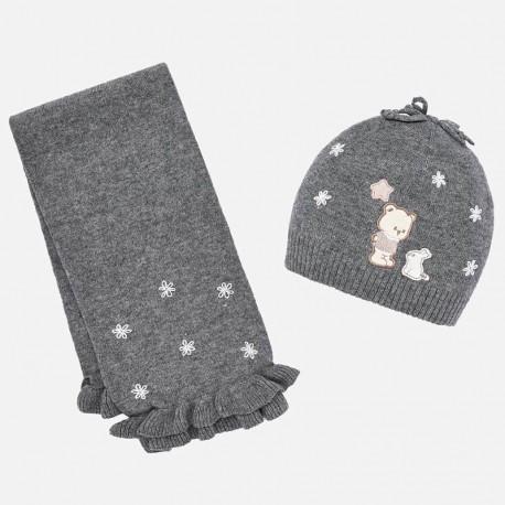 Komplet czapka i szalik z haftem dla dziewczynki Mayoral 10645-11 Stal