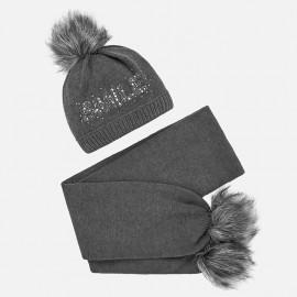Komplet czapka i szalik z napisem dla dziewczynki Mayoral 10700-35 Ołowiany