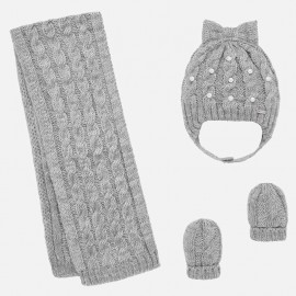 Komplet czapka i szalik dla dziewczynki Mayoral 10644-54 Srebrny