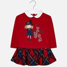 Sukienka bawełniana ze spódnicą w kratkę dla dziewczynki Mayoral 4939-41 Czerwony