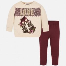 Komplet sportowy bluza i leginsy dla dziewczynki Mayoral 4710-88 Bordo
