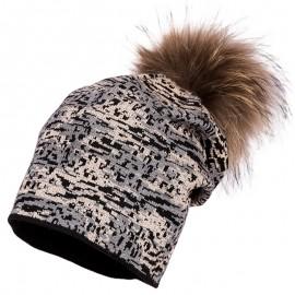 Jamiks TOSSA I czapka dla dziewczynki z pomponem czarny/beż