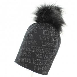 Jamiks ASHLEY II czapka dziewczęca z pomponem czarna