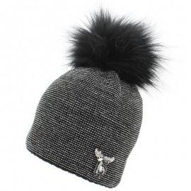 Jamiks TRINA II czapka dla dziewczynki z pomponem czarny
