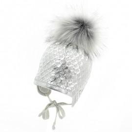 Jamiks CASABLANCA II czapka dla dziewczynki z pomponem wiązana popiel