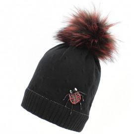 Jamiks FENILA II czapka dla dziewczynki z pomponem czarna