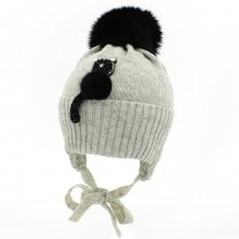 Jamiks GAMA III czapka dla dziewczynki z pomponem popiel