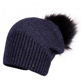 Jamiks JENNIFER II czapka dziewczęca z pomponem modrak