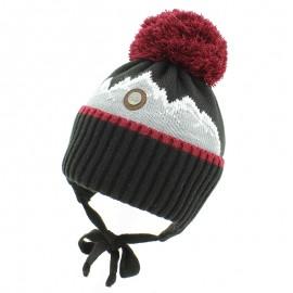 Jamiks ZYGMUNT IV czapka dla chłopaka z pomponem wiązana czarny