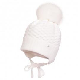 Jamiks ABRILA III czapka dla dziewczynki z pomponem wiązana biały
