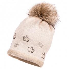 Jamiks AGATA II czapka dziewczęca z pomponem beż